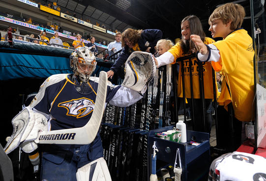 NASHVILLE, TN - MAY 03: Pekka Rinne #35 of the Nashville Predators takes the ice against the Vancouver Canucks in Game Three of the Western Conference Semifinals during the 2011 NHL Stanley Cup Playoffs at Bridgestone Arena on May 3, 2011 in Nashville, Tennessee. (Photo by John Russell/NHLI via Getty Images)