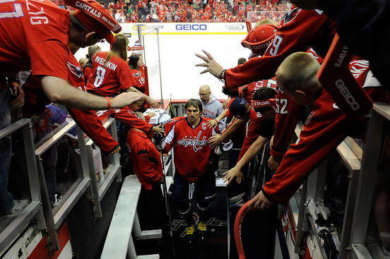 WASHINGTON, DC - APRIL 19:  Alex Ovechkin #8 of the Washington Capitals walks off the ice after warm ups before Game Four of the Eastern Conference Quarterfinals against the Boston Bruins during the 2012 NHL Stanley Cup Playoffs at Verizon Center on April 19, 2012 in Washington, DC.  (Photo by Patrick McDermott/Getty Images)