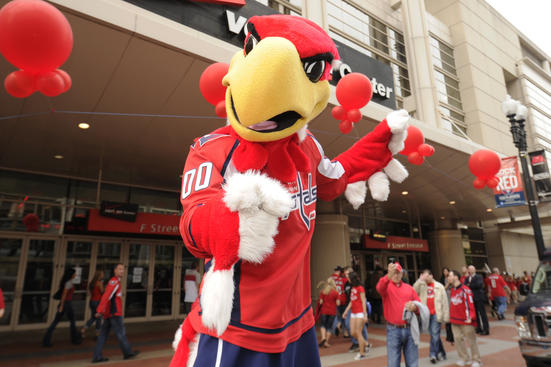 WASHINGTON, DC - MAY 2:  The Washington Capitals mascot, Slapshot, poses outside before Game Three of the Eastern Conference Semifinals of the 2012 NHL Stanley Cup Playoffs against the New York Rangers on May 2, 2012 at the Verizon Center in Washington, DC.  (Photo by Mitchell Layton/NHLI via Getty Images)