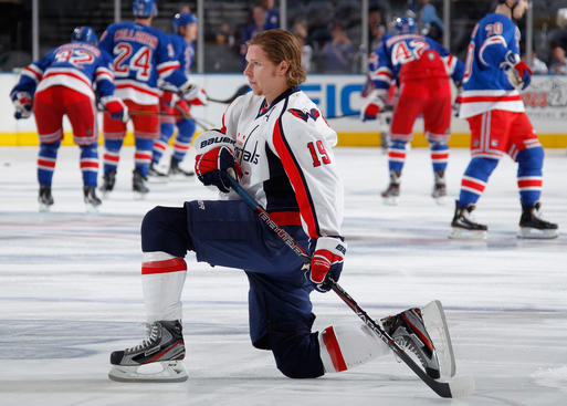 NEW YORK, NY - MAY 7: Nicklas Backstrom #19 of the Washington Capitals stretches during warm-ups prior to the start of the game against the New York Rangers in Game Five of the Eastern Conference Semifinals during the 2012 NHL Stanley Cup Playoffs at Madison Square Garden on May 7, 2012 in New York City. (Photo by Scott Levy/NHLI via Getty Images)