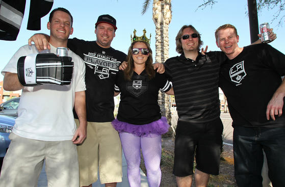 GLENDALE, AZ - MAY 13:  Fans of the Los Angeles Kings show their support prior to Game One of the Western Conference Finals between the Los Angeles Kings and the Phoenix Coyotes during the 2012 NHL Stanley Cup Playoffs at Jobing.com Arena on May 13, 2012 in Glendale, Arizona.  (Photo by Jeff Gross/Getty Images)