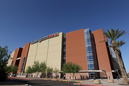 GLENDALE, AZ - MAY 15:  A general view of the exterior of Jobing.com Arena prior to Game Two of the Western Conference Final between the Los Angeles Kings and the Phoenix Coyotes during the 2012 NHL Stanley Cup Playoffs at Jobing.com Arena on May 15, 2012 in Phoenix, Arizona.  (Photo by Christian Petersen/Getty Images)