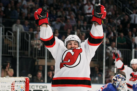 NEW YORK, NY - MAY 23:  Stephen Gionta #11 of the New Jersey Devils celebrates scoring a first period goal in Game Five of the Eastern Conference Final against the New York Rangers during the 2012 NHL Stanley Cup Playoffs at Madison Square Garden on May 23, 2012 in New York City.  (Photo by Bruce Bennett/Getty Images)